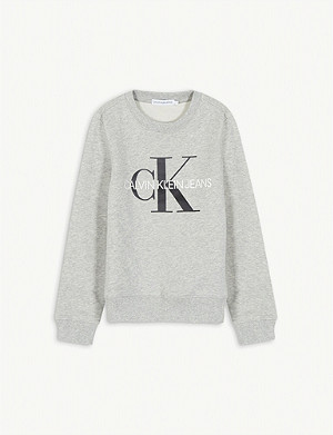 CALVIN KLEIN JEANS Monogram print cotton sweatshirt 4-16 years