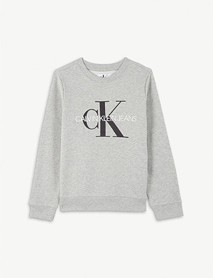 CALVIN KLEIN JEANS Logo print cotton jumper 4-16 years