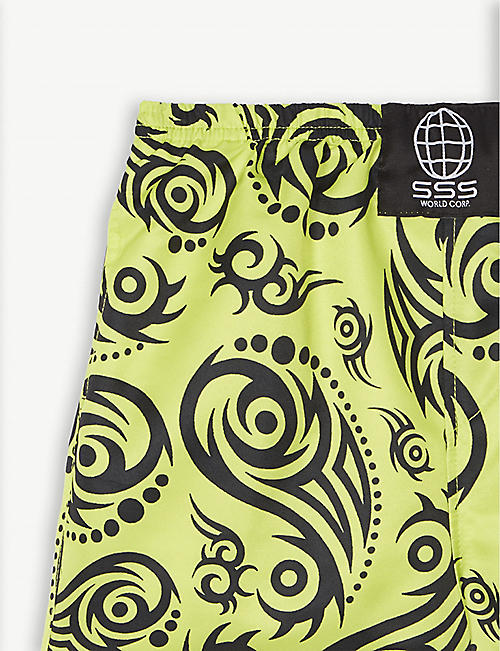 SSS WORLD CORP Tribal pattern quick-dry swim shorts 4-8 years