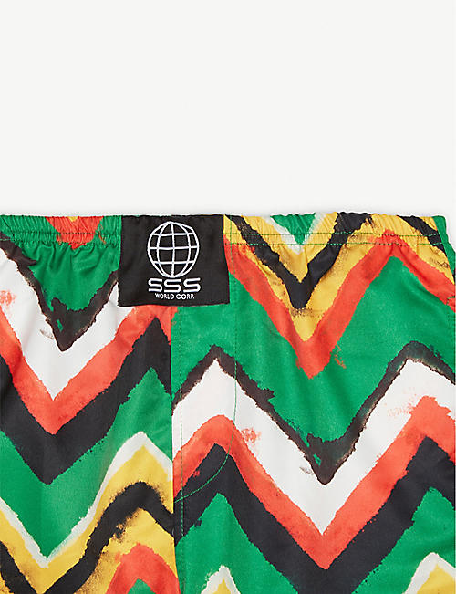 SSS WORLD CORP Stripe print quick-drying swim shorts 4-8 years