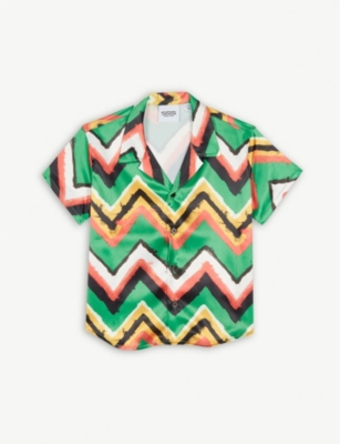 SSS WORLD CORP Chevron stripe Hawaiian shirt 4-8 years