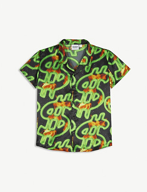 SSS WORLD CORP Flaming dollar-printed shirt 3-16 years