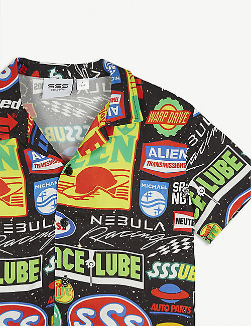 SSS WORLD CORP Space print shirt 3-16 years