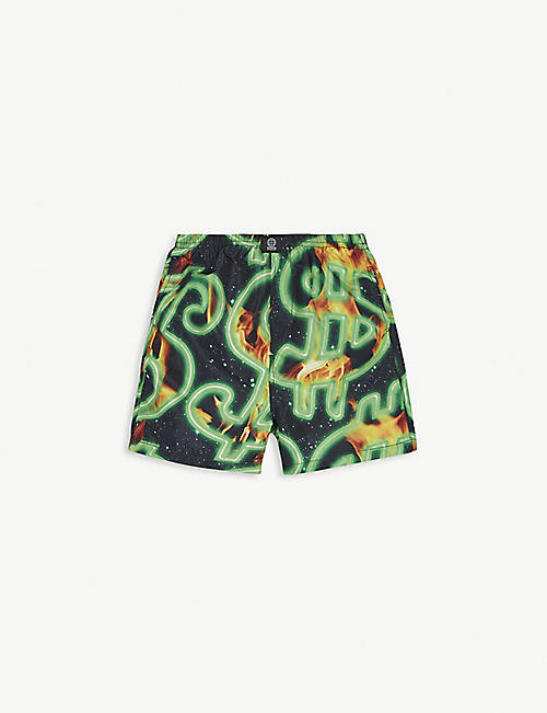 SSS WORLD CORP Flaming dollar-print woven swim shorts 3-16 years