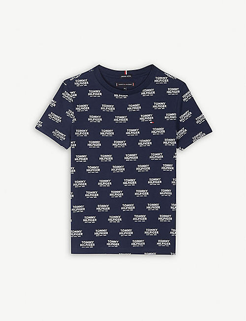 TOMMY HILFIGER Logo-printed cotton crew T-shirt 4-16 years