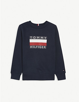 TOMMY HILFIGER: Logo-printed cotton jumper 4-16 years