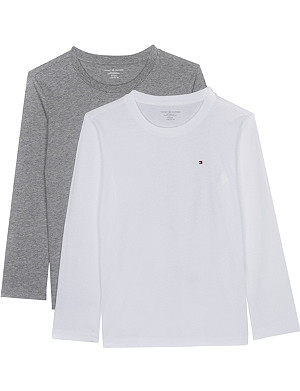 TOMMY HILFIGER Icon long-sleeved cotton T-shirts pack of two 4-16 years