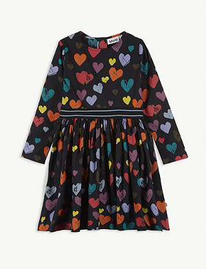 MOLO Heart print cotton-blend dress 3-12 years