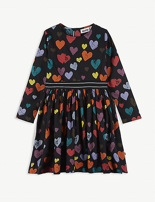MOLO Heart print cotton-blend dress 2-16 years