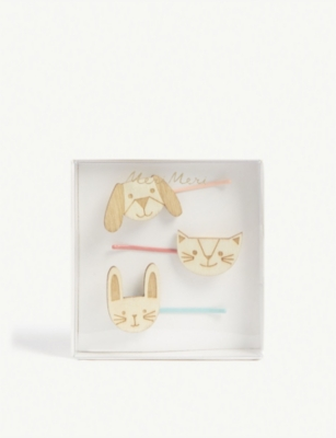 MERI MERI Wooden animal hair clips
