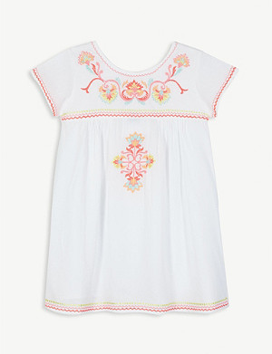 SUNUVA Floral embroidered cotton dress 3-14 years