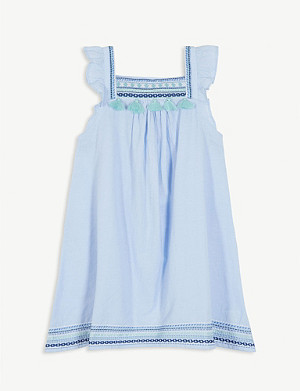 SUNUVA Embellished cotton-blend dress 3-14 years