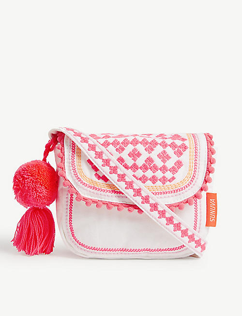 SUNUVA Hippy embroidered cotton cross-body bag