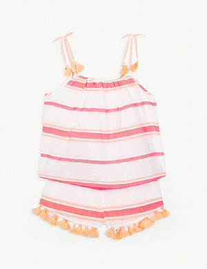SUNUVA Stripe print cotton top and shorts set 3-14 years