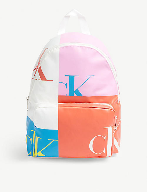 CALVIN KLEIN JEANS Patchwork logo canvas backpack