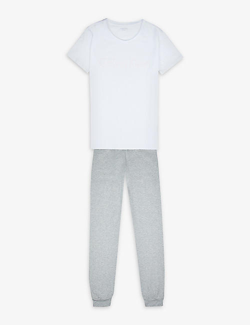 CALVIN KLEIN: Logo-print cotton-stretch pyjama set 4-16 years