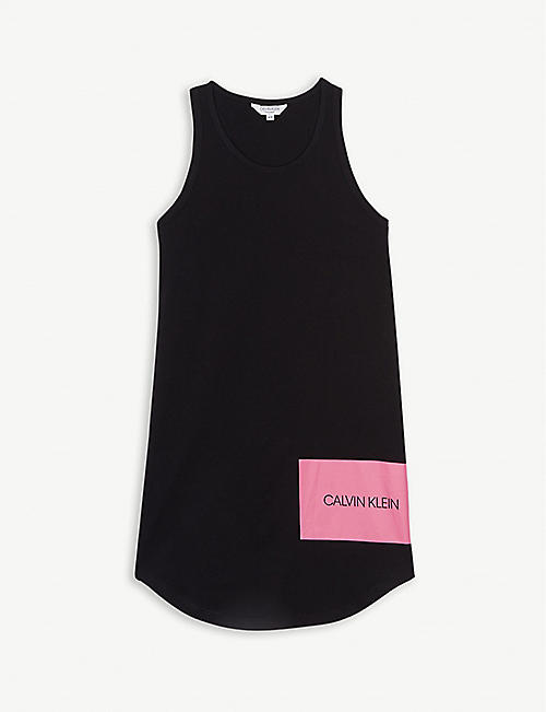 6832e03eb CALVIN KLEIN Logo cotton tank dress 4-14 years