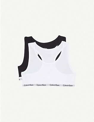 CALVIN KLEIN: Pack of two Modern Cotton bralettes 8-16 years