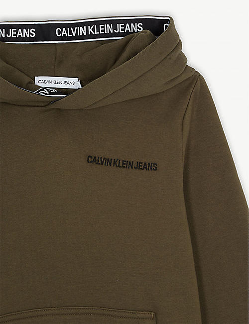 CALVIN KLEIN JEANS Logo cotton hoody 4-16 years