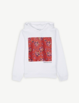 CALVIN KLEIN JEANS Flower patch cotton hoody 4-16 years