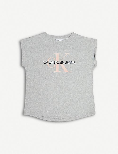 780b81e52 CALVIN KLEIN JEANS Monogram logo loose-fit cotton T-shirt 4-16 years
