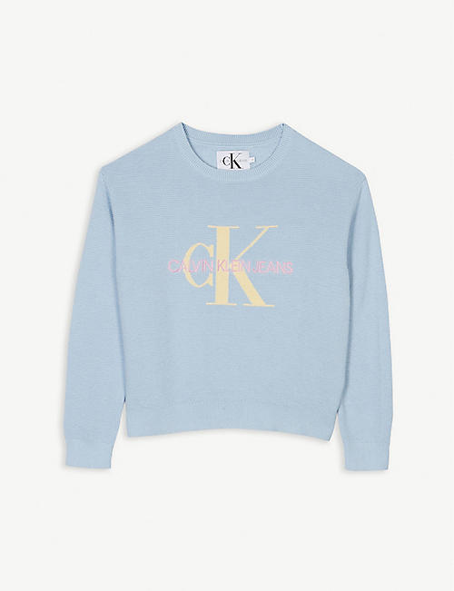 CALVIN KLEIN JEANS Logo crew neck sweater 4-16 years
