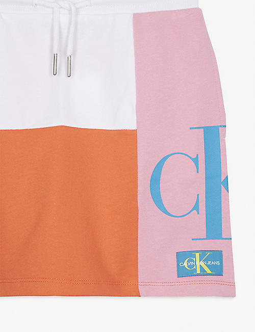 CALVIN KLEIN JEANS Logo colourblock jersey cotton skirt 4-16 years