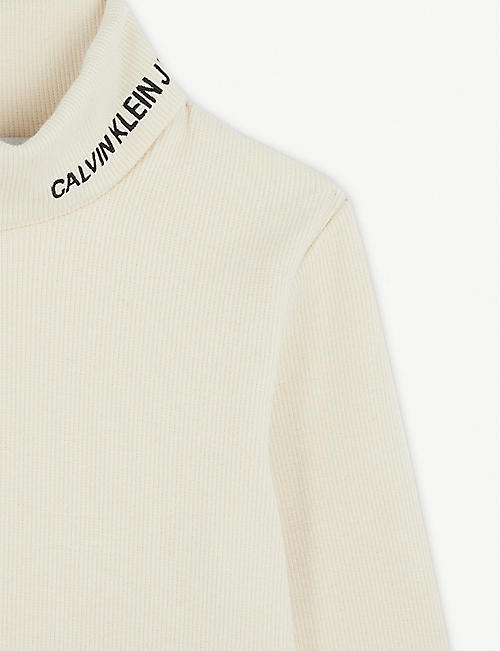 CALVIN KLEIN JEANS Roll neck cotton top 4-16 years