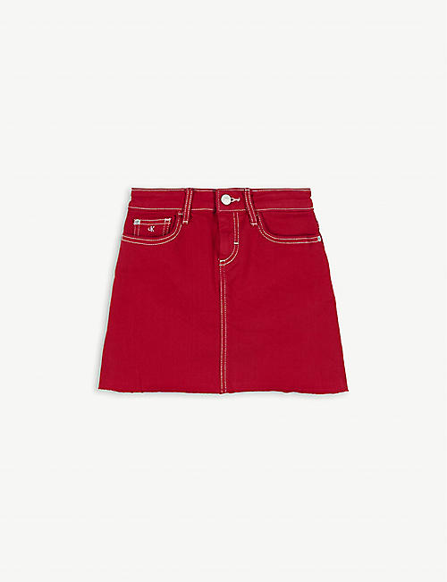 CALVIN KLEIN JEANS Denim cotton-blend mini skirt 4-14 years