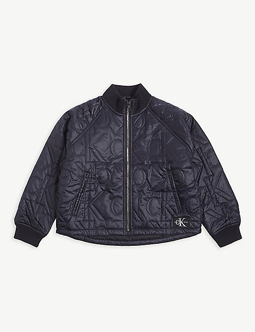 CALVIN KLEIN JEANS Monogram quilted bomber jacket 2-16 years