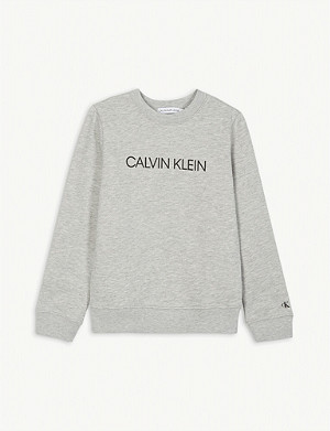 CALVIN KLEIN JEANS Divided logo cotton sweatshirt 4-16 years