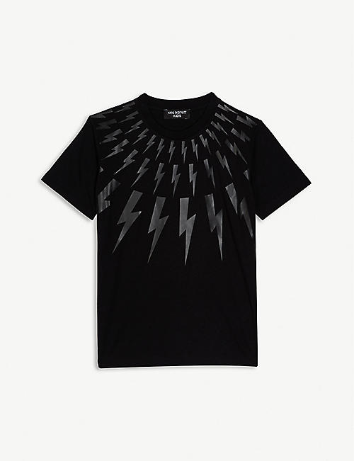 NEIL BARRETT Multi lightning print cotton T-shirt 4-14 years