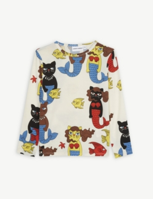 MINI RODINI Mermaid cat long-sleeved T-shirt 4-11 years