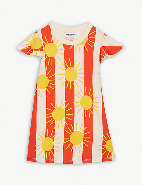 MINI RODINI Sun and stripe print cotton dress 3-11 years