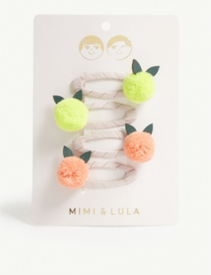 MIMI & LULA Citrus pom-pom hair clips set of four