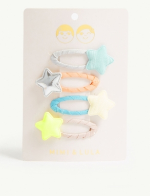 MIMI & LULA Neon Tokyo star hair clips set of four
