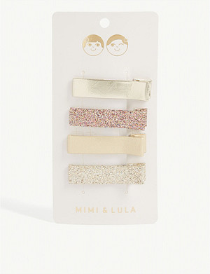 MIMI & LULA Edie shimmer hair clips set of four