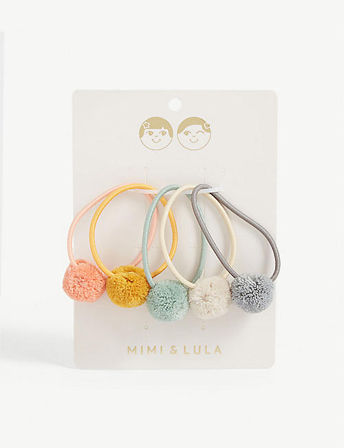 MIMI & LULA Pom pom hair ties pack of 5