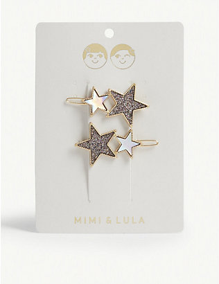 MIMI & LULA: Glitter star hair clips set of four