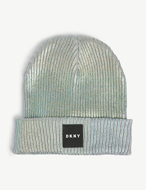 DKNY Iridescent shimmer cotton-blend beanie 8-16 years