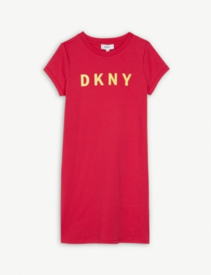 DKNY Logo print cotton-blend dress 4-14 years