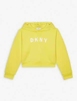 DKNY Logo print cropped hoody 4-16 years
