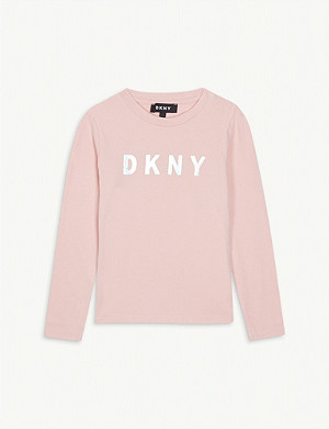 DKNY Metallic logo cotton-blend top 4-16 years