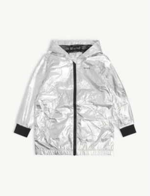 DKNY Logo metallic hooded jacket 4-16 years