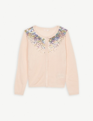 BILLIE BLUSH Sequin collar knitted cardigan 4-12 years
