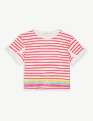 BILLIE BLUSH Striped frill sleeve cotton T-shirt 3-12 years