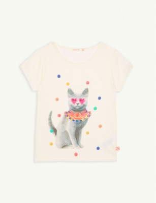BILLIE BLUSH Party cat cotton-blend T-shirt 4-12 years