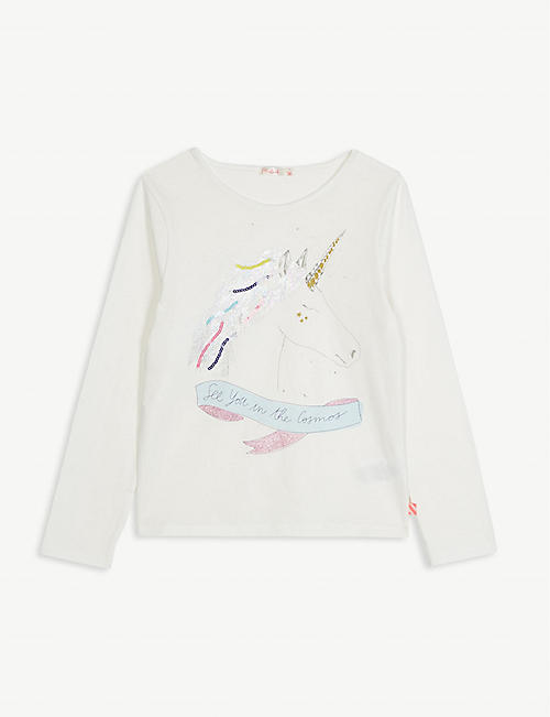 BILLIE BLUSH Unicorn print cotton T-shirt 4-12 years