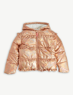 BILLIE BLUSH Frilled metallic shell coat 4-12 years