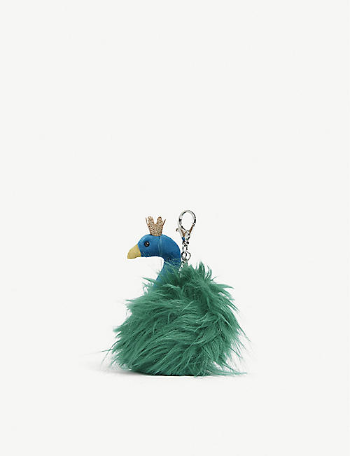 JELLYCAT Fluffy Fancies peacock bag charm